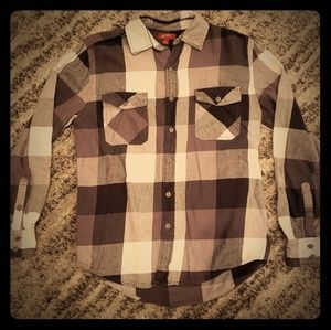 Gray and Black Plaid Button Up